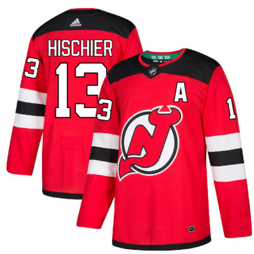 Men's New Jersey Devils #13 HISCHIER Red Authentic Jersey