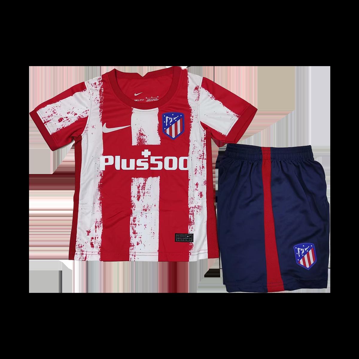 21/22 Atletico Madrid Home Kids Kit Red&White Children's Jerseys Kit(Shirt+Short)