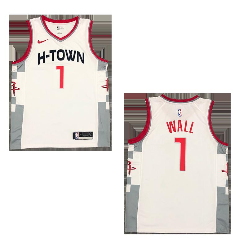 Men's Houston Rockets 2021 John Wall #1 Swingman Jersey white Top-Statement Edition