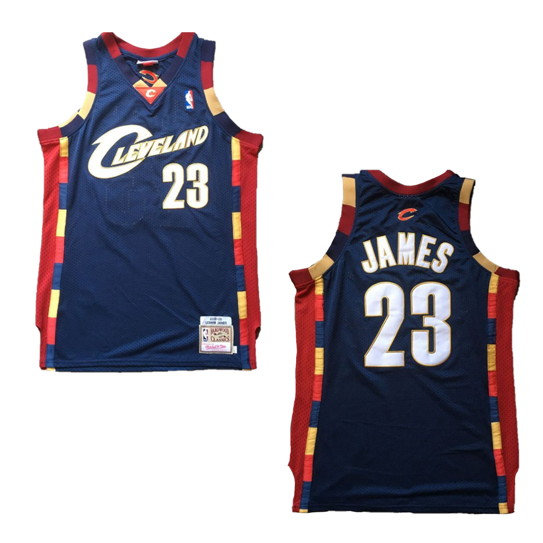 Retro James #23 Cleveland Cavaliers Jersey 2008/09 By Mitchell & Ness Navy