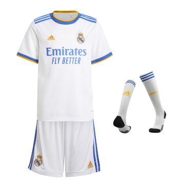 Real Madrid Home Full Kit 2021/22 By Adidas Kids